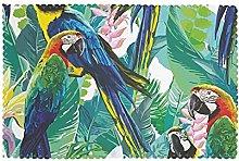 Placemats Set of 6 PVC Tropcial Parrots and Plants