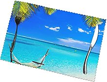 Placemats Set of 6 PVC Tropical Sunny Beach Dining