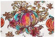 Placemats Set of 6 PVC Watercolor Pumpkin Fall