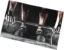 Placemats Set of 6 PVC Weightlifting Sports Dining