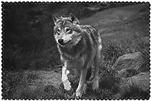 Placemats Set of 6 PVC Wild Life Wolf Dining Table