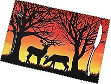 Placemats Set of 6 PVC Winter Nature Deer Dining