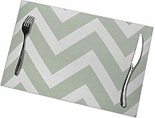 Placemats Set of 6 Sage Green White Chevron Zigzag