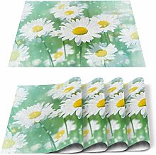 Placemats Set of 6 Small White Daisy Flowers