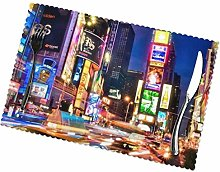 Placemats Set Of 6,Times Square New York Usa City