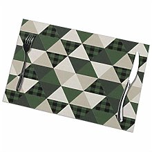 Placemats Set of 6 Washable Green Camping Cabin