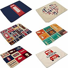 Placemats Sets of 6Painted London Theme Pattern