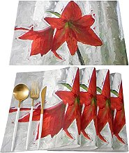 Placemats Table Mats For Dining Table Kitchen, Red
