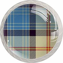 Plaid Blue Yellow 4pcs Glass Cupboard Wardrobe