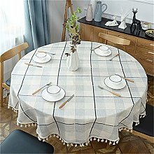 Plaid Cotton And Linen Large Round Table