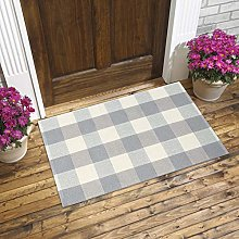 Plaid Cotton Woven Rug - Gray and White Area Rug