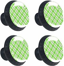 Plaid Green Round Cabinet Knobs 4pcs Knobs for