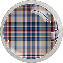 Plaid Pattern 4PCS Round Shape Cabinet Knobs for