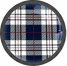 Plaid Pattern Blue White Knobs and Pull Handle for
