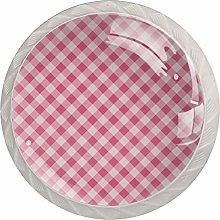 Plaid Pink Pattern Seamless Vector 4pcs Glass