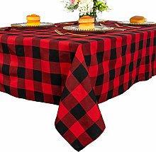Plaid Square Tablecloth 55x55-Inch Red and Black
