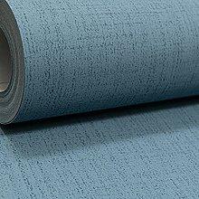 Plain Blue Linen Effect Smooth Non Woven Vinyl