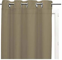 PLAIN eyelet voile net curtain - taupe