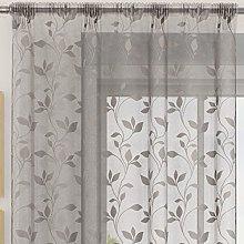 Plain sheer voile net curtain panel floral leaves