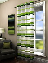 Plain striped voile curtain panel green lime