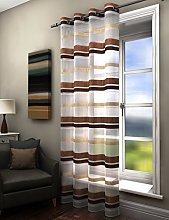 Plain striped voile curtain panel natural brown