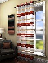 Plain striped voile curtain panel orange rust