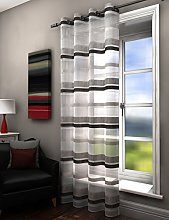 Plain striped voile curtain panel silver grey