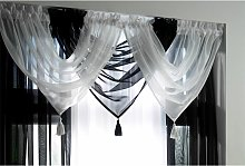 Plain Voile Curtain Swag Panel Black Tasseled -