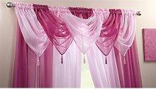 Plain Voile Curtain Swag Panel Cerise Tasseled -