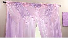 Plain Voile Curtain Swag Panel Lilac Tasseled -