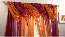 Plain Voile Curtain Swag Panel Orange Tasseled -