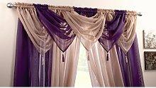 Plain Voile Curtain Swag Panel Purple Tasseled -