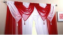 Plain Voile Curtain Swag Panel Red Tasseled - Alan