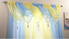Plain Voile Curtain Swag Panel Sky Blue Tasseled -