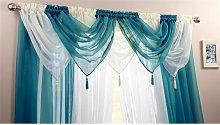 Plain Voile Curtain Swag Panel Teal Tasseled -