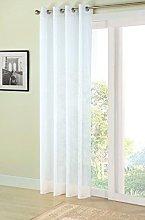 Plain white eyelet voile net curtain panel 56x84