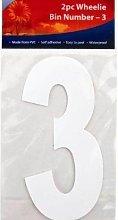 Plain White Wheelie Bin Self Adhesive Number 3 -