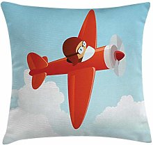 Plane Throw Pillow Cushion Cover, Airplane Flying