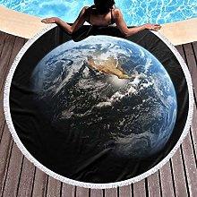 Planet Printed Round Beach Towel Yoga Picnic Mat