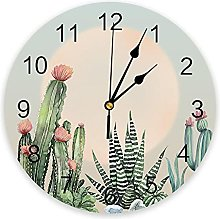 Plant Cactus Sun Modern Wall Clock For Home Office