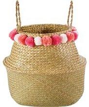 Plant Fibre Collapsible Basket with Pom Poms
