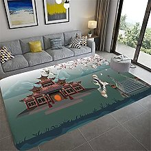 Plant Flower Printed Carpet Sofa Large Carpets