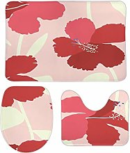Plant Flowers Bathroom Rug Set Non-Slip Water