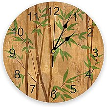 Plant Green Bamboo Modern Wall Clock For Home