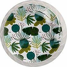 Plant Leaves PatternRound Glass knob White Drawer