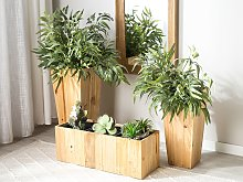 Plant Pot Planter with Insert Light Pine Wood