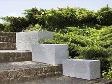Plant Pot Set of 3 White Fibre Clay Indoor Outdoor