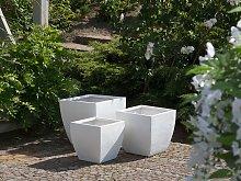 Plant Pot White Fibre Clay Flower Planter Square