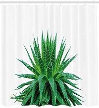 Plant Shower Curtain Vibrant Aloe Vera Print for