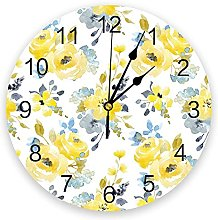 Plant Yellow Watercolor Flowers 3D Wall Clock